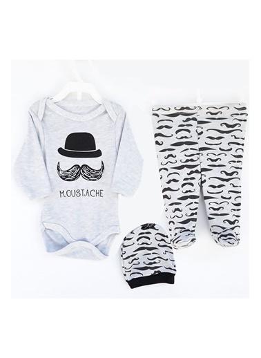 By Bebek Odam Moustache li Bıyıklı Şapkalı 2'li Takım Gri